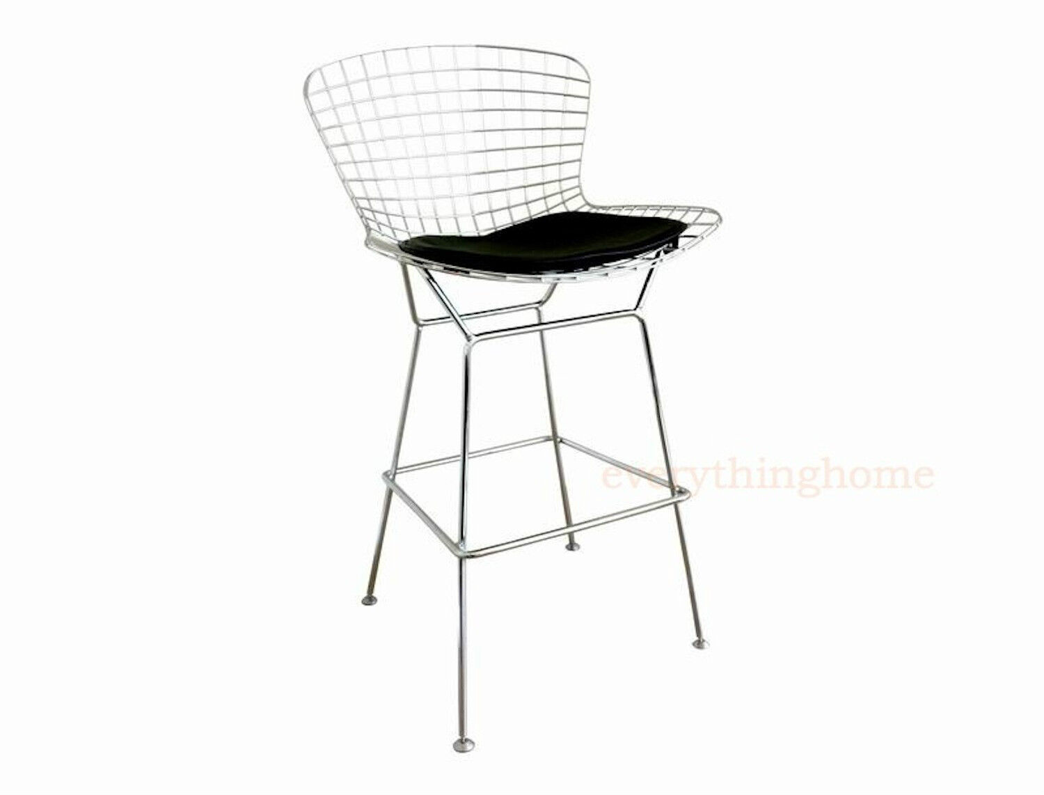 modern bertoia wire bar stool silver chrome frame 30 seat hgt black white pad
