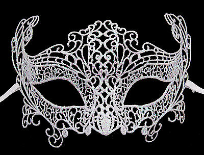Mask from Venice Lace Burano-Wolf Civet Carnival- White Mother-Of-Pearl 336