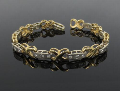 Vintage 1.80ct Diamond 14k White & Yellow Gold Satin Finish X Tennis Bracelet