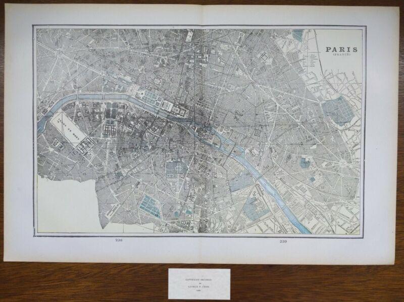 """Vintage 1900 PARIS FRANCE Map 22""""x14"""" ~ Old Antique Original LOUVRE NOTRE DAME"""