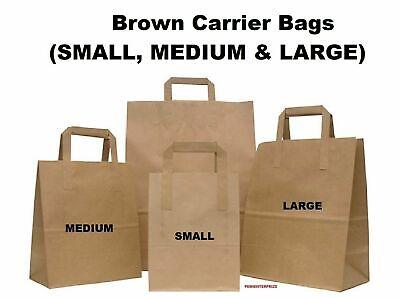 Large Kraft Paper SOS Bags Food Carrier Party Gift Take Away Reuse Brown 100 Pcs