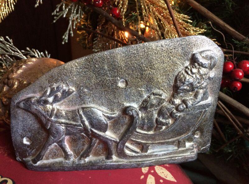 Primitive Antique Tin Style Santa Sleigh Reindeer Silver Resin Chocolate Mold