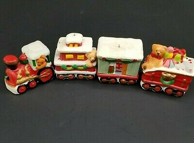 Vintage Train Ornaments Set of 4 Christmas Santas Presents Bear Ceramic Painted