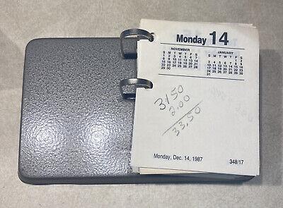 Vintage 1980s Desk Calendar Base Grey Metal 1987 Ever Ready Flip Date Pages
