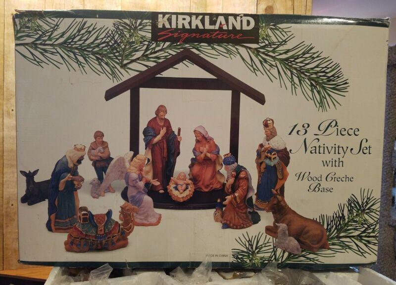 Large Signature Kirkland 13 Piece Porcelain Christmas Nativity Set Wooden Creche