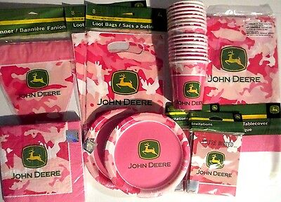 JOHN DEERE PINK - Birthday Party Supplies Set Pack for 16 DELUXE KIT w/ Banner](John Deere Birthday Party Supplies)