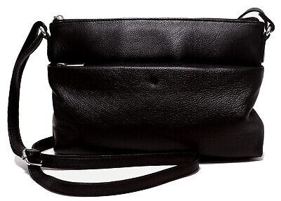 Schwarz Abend-handtasche (Leder Damen Handtasche schwarz Ledertasche Clutch Schultertasche Abend Tasche)