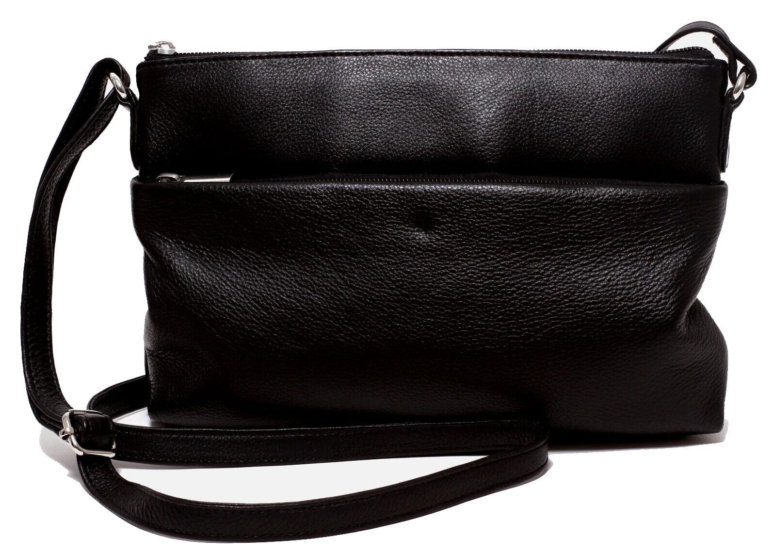 Leder Damen Handtasche schwarz Ledertasche Clutch Schultertasche Abend Tasche