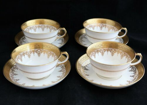 ANTIQUE SET 4 ROYAL CHELSEA CHINA ENGLAND CUPS & SAUCERS GOLD ENCRUSTED 6013