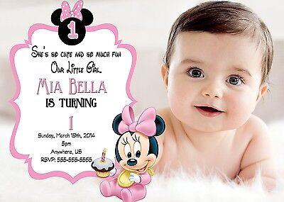 Baby Minnie Mouse 1st Birthday Invitations Print your own Minnie Party Supplies (1st Birthday Invitations Minnie Mouse)