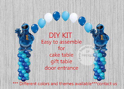Sesame Street Cookie Monster BALLOON ARCH COLUMNS Birthday Party Decorations  - Cookie Monster Birthday Decorations