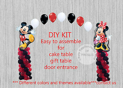 Red Minnie Mouse Mickey BALLOON ARCH with COLUMNS Birthday Party Decoration - Red Minnie Mouse Birthday Decorations