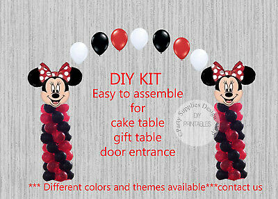 Red Minnie Mouse BALLOON ARCH COLUMNS Birthday Party Decorations, Baby Shower - Red Minnie Mouse Decorations