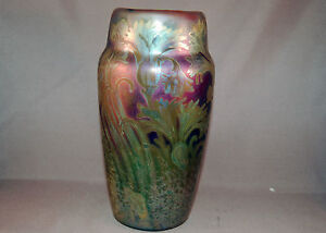 MAGNIFICENT Weller Sicard Signed Iridescent Glaze Floral Design Vase!
