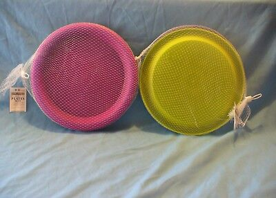 """8 New Round 10"""" Pink Blue Green & Yellow Plates / Serving Platters / Chargers  ()"""