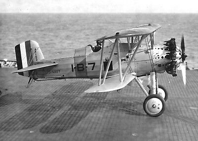 1930 Photo-Boeing F4B-1 Navy Fighter Aircraft Takes off from USS Lexington