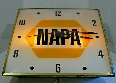 "VINTAGE NAPA AUTO PARTS 15"" PAM ADVERTISING CLOCK SIGN"