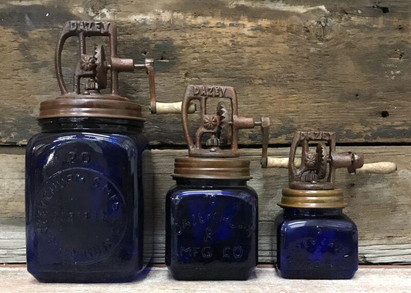 Cobalt (3) Piece DAZEY Churn Glass Set with Wood Paddles, Nos. 5, 10, & 20