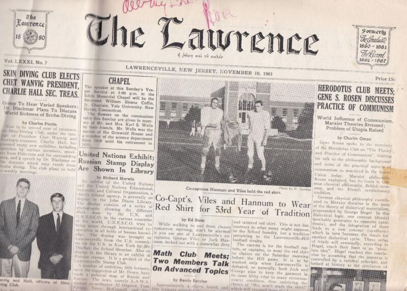 Vintage Lawrenceville School (NJ)  The Lawrence  Nov 10 1961 Issue