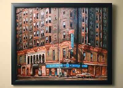 The Blues Room - 1988 Art Print Cityscape Painting - Chicago Artist Erich Vokral