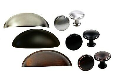 Kitchen/Bath Cabinet Hardware Cup Pulls Handles OR Round Mushroom Knob -