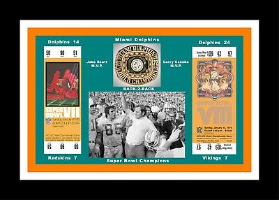 MIAMI DOLPHINS MATTED PHOTO OF BACK-2-BACK SUPER BOWl TICKETS @ SHULA SB 7@8  #2