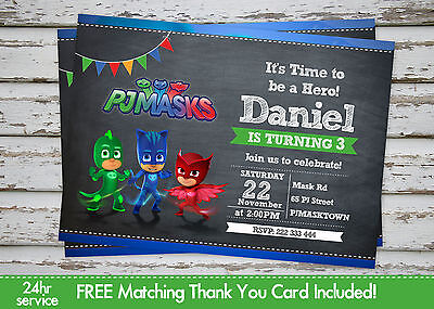 PJ Masks Birthday Party invitation printable with free matching Thank You card - Mask Printables