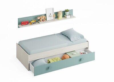 Cama doble compacto juvenil nido + estante, cama infantil, Blanco Alpes y...