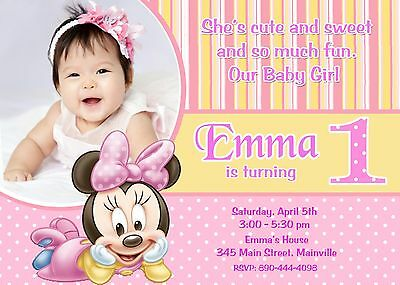 Minnie Mouse, First Birthday, Baby, One Year, Birthday Party Invitation (Minnie Mouse First Birthday Invitations)