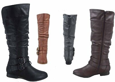 Riding Heel - NEW Women's Low Heel Round Toe Knee High Riding Boots 5 Colors All Size 5 - 10