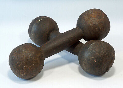 Antique Solid Iron Dumbbells Barbells 18 Pound Set Curl Weights