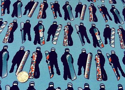 Board Kinder Sweatshirt (Snowboard blau Hilco Sweatshirtstoff Kinderstoff für coole Kids Jersey 25 cm)