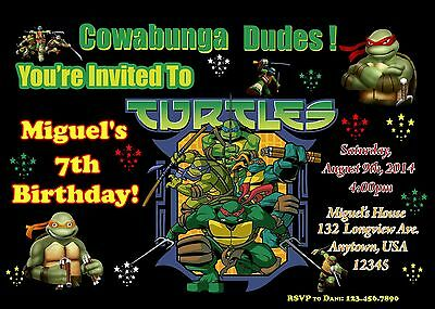 Ninja Turtle Invitations (Teenage Mutant Ninja Turtle Birthday Invitation, TMNT,)
