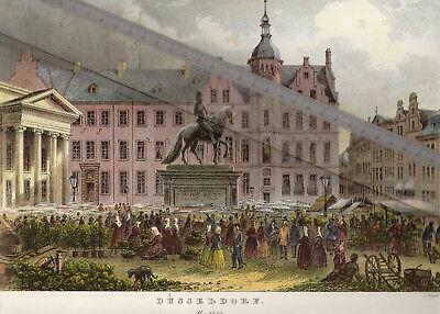 NEUDRUCK von alter Lithographie -  Blick nach Düsseldorf um 1855 - DIN a 3