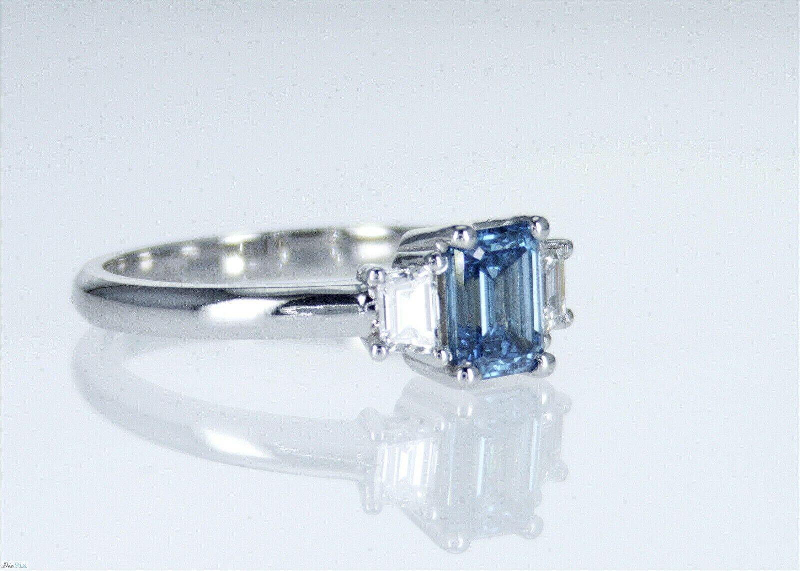 1.26 CT Vivid Greenish Blue VS2 GIA CERTIFICATE Natural Diamond Engagement Ring 2