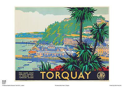 TORQUAY DEVON RETRO POSTER VINTAGE HOLIDAY RAILWAY TRAVEL ADVERTISING PRINT