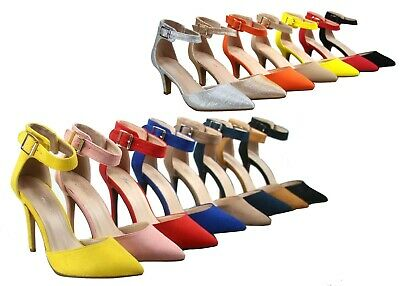 NEW Women's Pointed Toe Ankle Strap Stiletto Low High Heel  Pumps 5 - 10 Size  Pump Medium Heel Ankle Strap