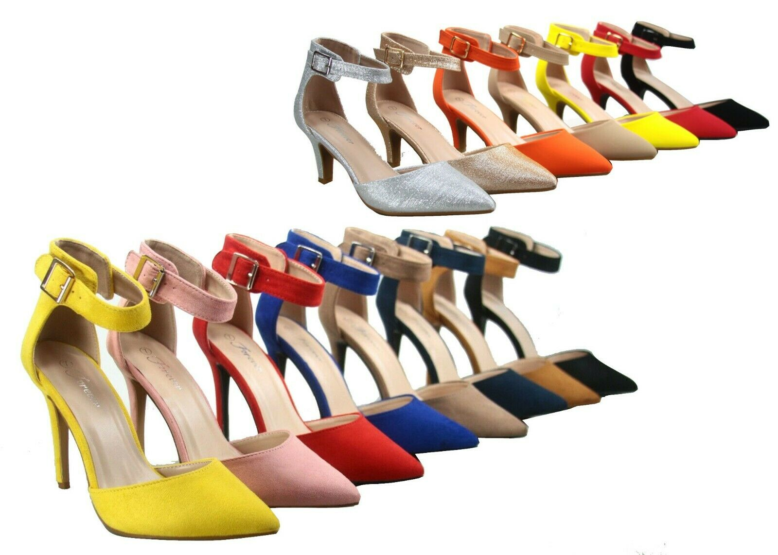 NEW Women's Pointed Toe Ankle Strap Stiletto Low High Heel
