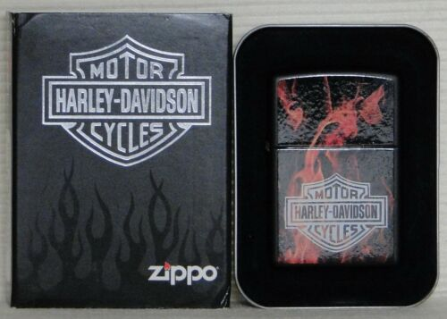 Collectible Harley Davidson Flames & Shield Zippo Lighter