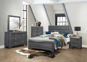 Brand New Beechnut Queen/King Bed Frame in Grey ( Suite Available )