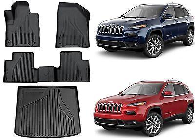 OEM Mopar Black All Weather Rubber Slush Floor Mats For 2014-2017 Jeep Cherokee