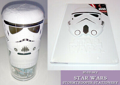 STAR WARS Storm Trooper Stationery PENCIL TIN or A5 3D HELMET JOURNAL NOTEBOOK
