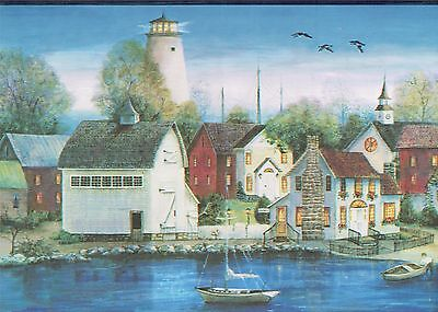 HOMES LIGHTHOUSES SAILBOATS ON THE WATERFRONT Wallpaper bordeR Decor Wall