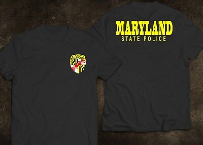 New Maryland State  Police United States Department Navy Black White T Shirt