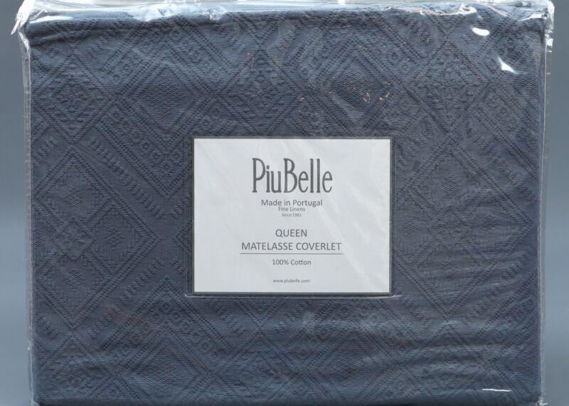 PIUBELLE NAVY GEOMETRIC MATELASSE 100% Cotton QUEEN Sz Cover
