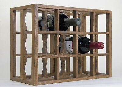 (Victoria Wine Rack 12 bottles Solid Wood Antique Stain/lacquered Countertop)