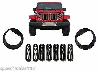 Black Mesh Grill Inserts + Angry Headlight Bezels For 2007-2016 Jeep Wrangler JK