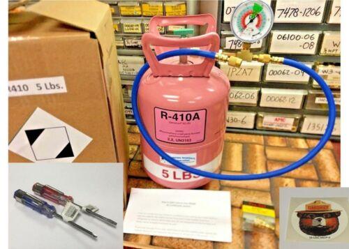 R410a, Refrigerant Recharge Top-Off Kit, 5 lb. Instructions, Color Gauge, Kit W