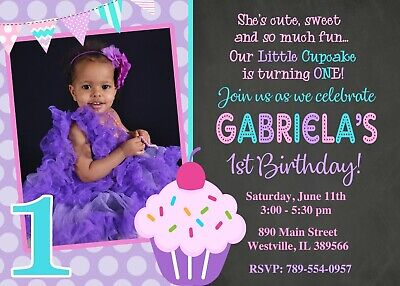 Cupcake Birthday Party, Cupcake, First Birthday, First Birthday, (Cupcake Birthday Party Invitation)