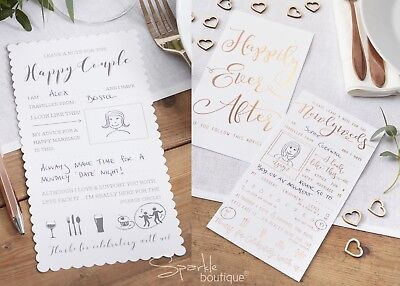Wedding Advice Cards for Bride & Groom - Guest Book Alternative / Wishes - White